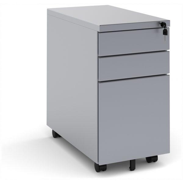Narrow Steel 3 Drawer Pedestal